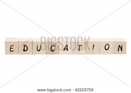 Education Written With Wooden Blocks.