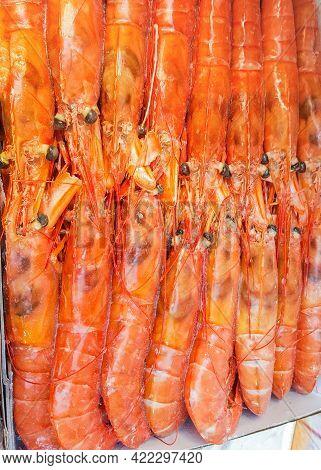 Frozen King Prawns, Red Prawns Close-up, Seafood Consumption Concept.