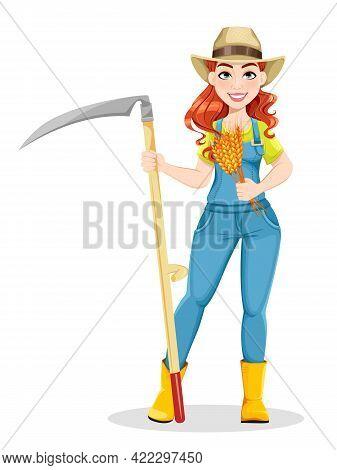 Beautiful Woman Farmer Holding Scythe And Wheat. Cute Girl Farmer Cartoon Character. Stock Vector Il