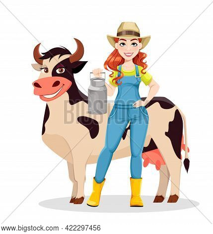 Beautiful Woman Farmer Standing With Cow. Cute Girl Farmer Cartoon Character. Stock Vector Illustrat