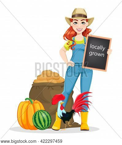 Beautiful Woman Farmer Standing Near Harvest And Rooster. Cute Girl Farmer Cartoon Character. Stock