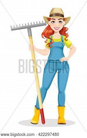 Beautiful Woman Farmer Holding Rake. Cute Girl Farmer Cartoon Character. Stock Vector Illustration O