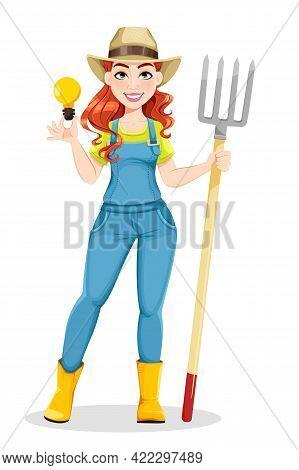 Beautiful Woman Farmer Holding Pitchfork. Cute Girl Farmer Cartoon Character. Stock Vector Illustrat