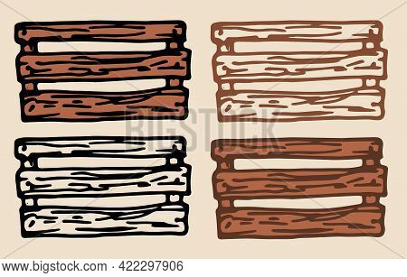 Rustic Doodle Set Wooden Crates For Decoration Design. Sketch Drawing. Cargo Shipment. Outline Vecto