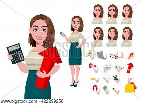 Young Successful Business Woman Creation Set. Build Your Own Design Of Cute Businesswoman Cartoon Ch