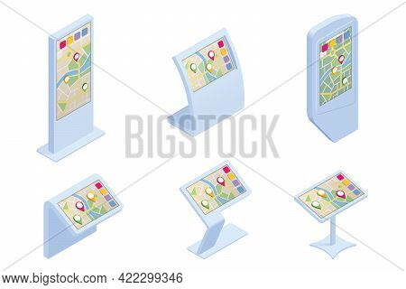 Isometric Promotional Interactive Information Kiosk, Advertising Display, Terminal Stand, Touch Scre