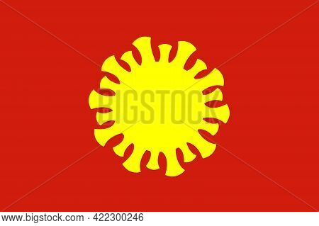 The yellow silhouette of the coronavirus on a red background. As if the virus instead of a star on the flag of Vietnam. Illustration of the Vietnam covid-19 outbreak or the Vietnam variant.