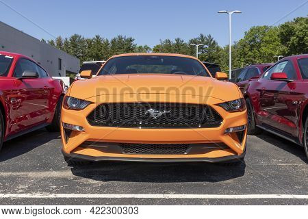Indianapolis - Circa May 2021: Ford Mustang Display At A Dealership. Ford Offers The Mustang In A Ba