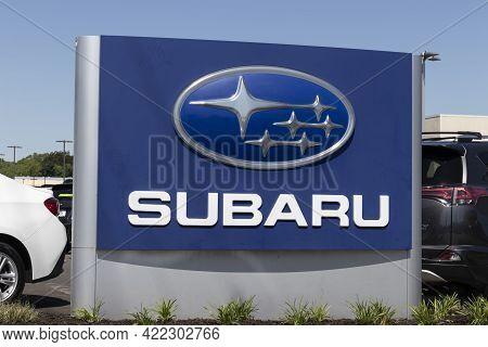 Indianapolis - Circa May 2021: Subaru Car Dealership. Subaru Manufactures A Majority Of Vehicles Sol
