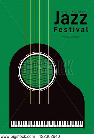 Jazz Music Festival Poster Design Template Background Decorative With Piano And Guitar String. Desig
