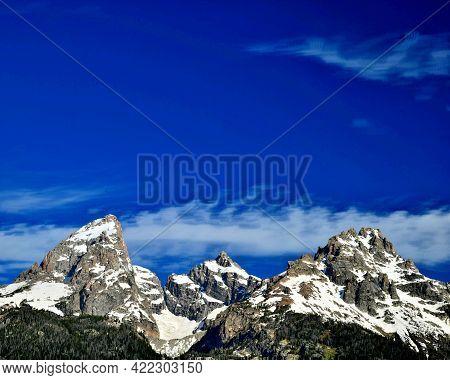 Snow capped Grand Teton Mountains, Grand Teton National Park, Wyoming.