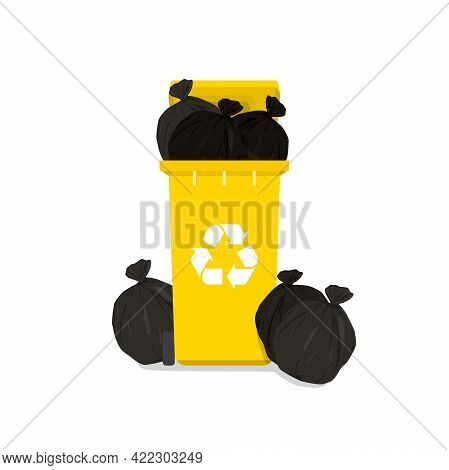 Overflowing Yellow Garbage Bin With Household Waste Isolated On White Background.