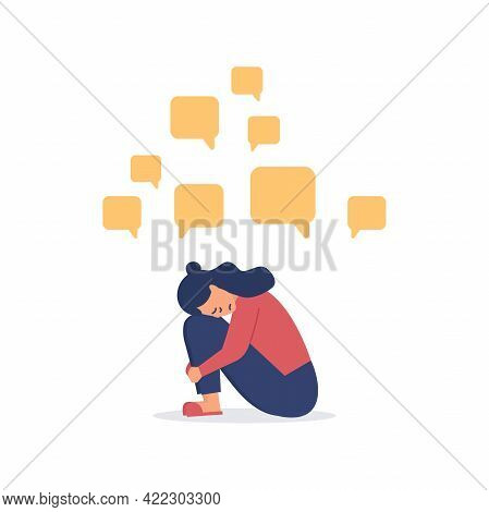 Depressed Woman Sitting On The Floor With Message Bubbles. Cyber Bullying. Unhappy Female Character