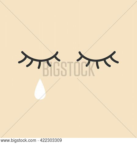 Eye With Tears. Crying Girl Eye. Sad Female Tears, Irritable Tearful Woman Teared Drops Vector.