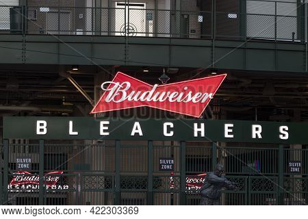 Chicago - Circa May 2021: Budweiser Bleachers Seating Area Of Wrigley Field, Home Of The Chicago Cub