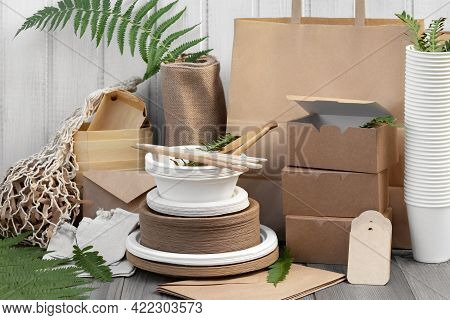 Eco Friendly Packaging And Dishes Made From Natural Recyclable Materials. Environmental Protection A