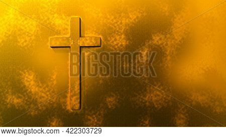 Concept or conceptual gold cross on a golden background. 3d illustration metaphor for God, Christ, Christianity,  religious, faith, holy, spiritual, Jesus, belief or resurection