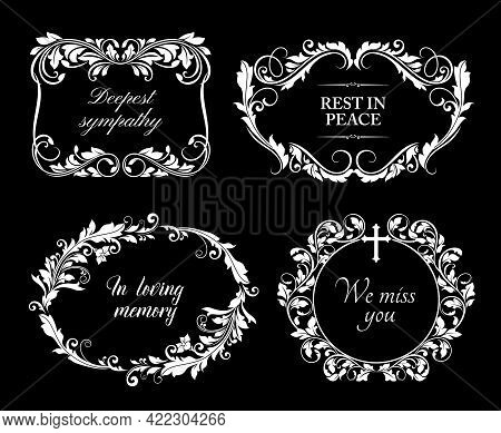 Funeral Card Frames With Floral Ornaments, Sorrowful Condolences And Cross. Memorial Plague, Funerar