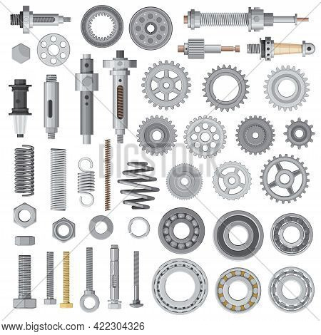 Industrial Machines And Vehicles Vector Spare Parts. Vector Bolts, Nuts And Anchors, Springs And Was