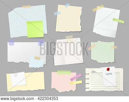 Blank Paper Notes, Sticker Notepads And Memo Messages, Vector Notepaper. Blank Paper Memo Notes Of T