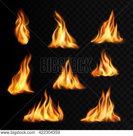 Burning Fire Flames And Trails, Campfire Vector Tongues. Torch Flames, Bonfire Glow Orange And Yello