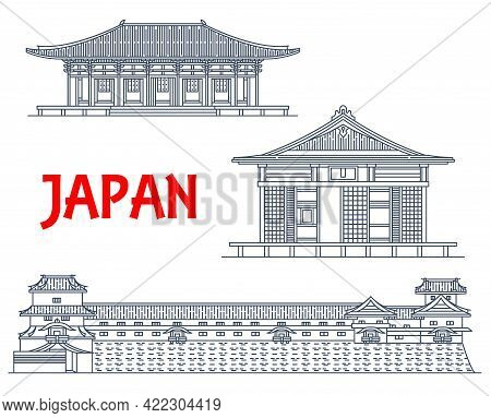 Japanese Travel Landmarks, Temple Buildings, Buddha Architecture, Vector Line Icons. Japanese Famous