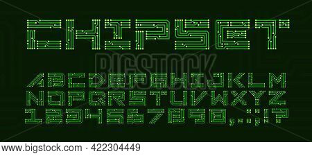 Chipset Font With Circuit Board Letters. Techno Abc With Electronics Motherboard, Digital Network Fo