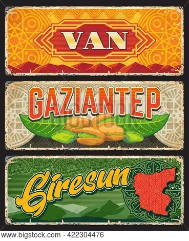 Van, Gaziantep And Giresun Il, Turkey Provinces Vintage Plates Or Banners. Vector Aged Travel Destin