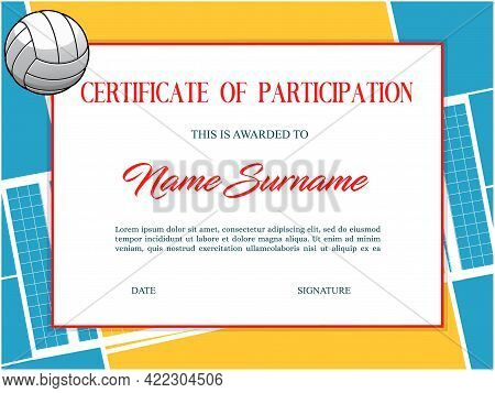 Volleyball Certificate, Award Diploma And Sport Cup Winner Appreciation, Vector Template Border. Vol