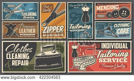 Sewing Tailor Shop And Tailoring Atelier Workshop, Vector Retro Posters. Dressmaking Salon And Cloth
