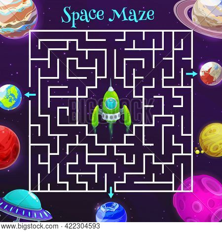Cartoon Space Labyrinth Maze Game Of Vector Kids Education Design. Puzzle Game, Riddle, Quiz Or Test