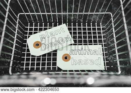 Plant-based And Animal-based Product Tags On Top Of Grocery Shopping Basket, Healthy Nutrition And E