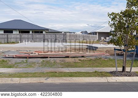 Mackay, Queensland, Australia - May 2021: The Concrete Pad Of A House About To Be Constructed On Sub