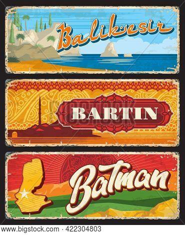 Balikesir, Bartin, Batman Il, Turkey Provinces Vintage Plates Or Banners. Vector Retro Grunge Boards