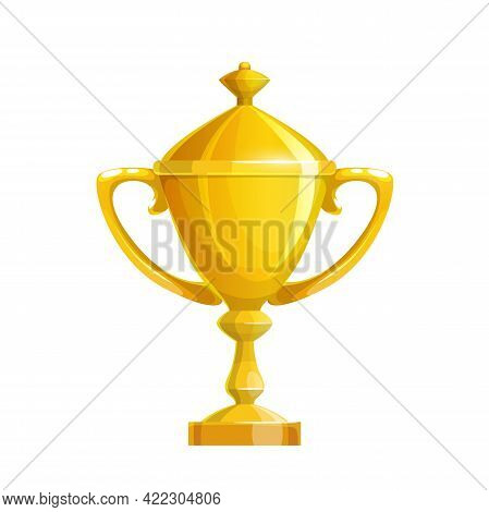 Golden Cup Icon, Gold Sport Trophy For First Place Winner Prize Award. Vector Champion Goblet With C
