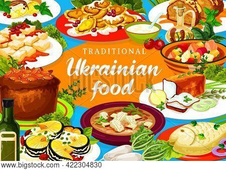 Ukrainian Cuisine Vector Stabbed Chicken, Noodle And Kherson Yushka. Kiev Herring, Pike In Transcarp