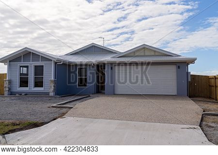 Mackay, Queensland, Australia - May 2021: A Newly Constructed Home Awaiting Its First Occupants In A