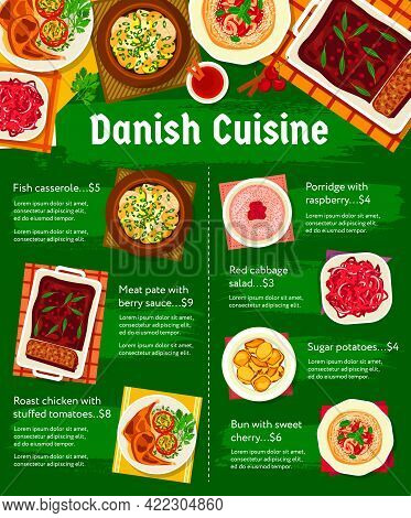 Danish Cuisine Food Menu, Dishes And Meals Poster For Lunch, Dinner And Breakfast. Scandinavian Dish