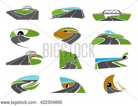 Highway, Pathway Road Icons With Bridge, Crossroads And Tunnel. Asphalt Motorway, Vector Winding In