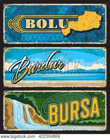 Bolu, Burdur And Bursa Il, Turkey Provinces Vintage Plates Or Banners. Vector Turkish Landmarks, Age