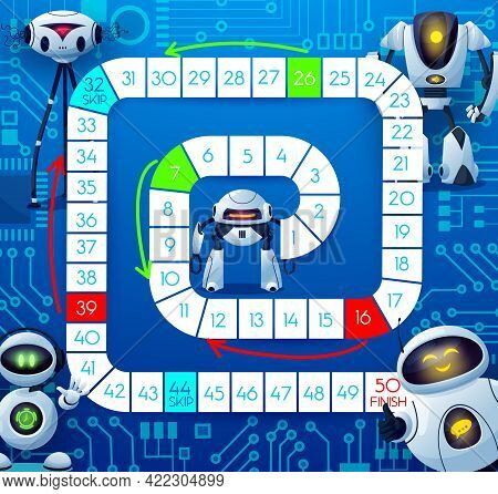 Boardgame With Robots And Motherboard, Kids Tabletop Game, Vector Template. Kids Cartoon Track Move