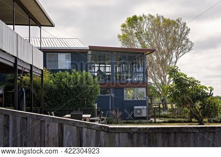 Mackay, Queensland, Australia - May 2021: Double Storey Beachside Homes With Viewing Decks, Casual L