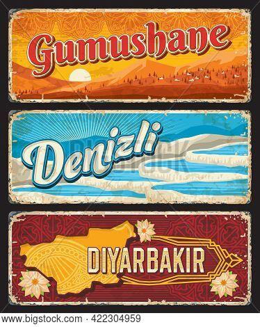 Gumushane, Denizli And Diyarbakir Il, Turkey Provinces Vintage Plates Or Banners. Vector Aged Travel