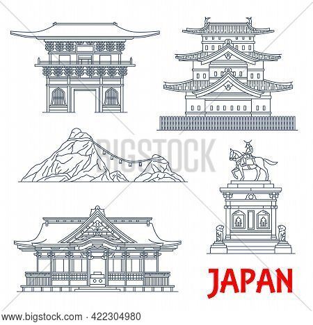 Japanese Architecture, Temples Landmarks And Japan Shrine Houses, Vector Building Icons. Japan Famou