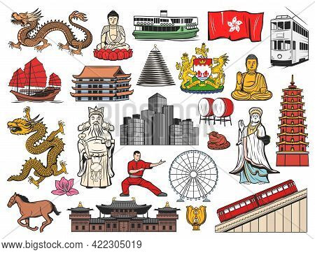 Hong Kong And China Travel Icons With Isolated Vector Flag, Bauhinia Flower, Buddha, Temple And Pago