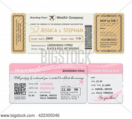 Boarding Pass Ticket, Wedding Invitation Template To Marriage Party, Vector. Wedding Love Gift, Roma