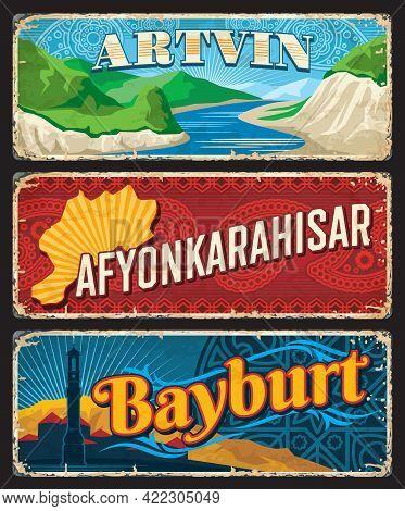 Artvin, Afyonkarahisar, Bayburt Il, Turkey Provinces Vintage Plates Or Banners. Vector Aged Travel D