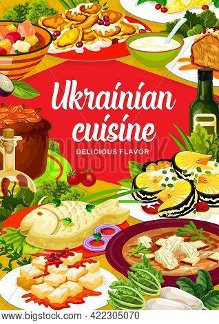 Ukrainian Cuisine Vector Chicken Noodle, Smazhenina With Herring Or Kherson Yushka. Chicken Stabbed,
