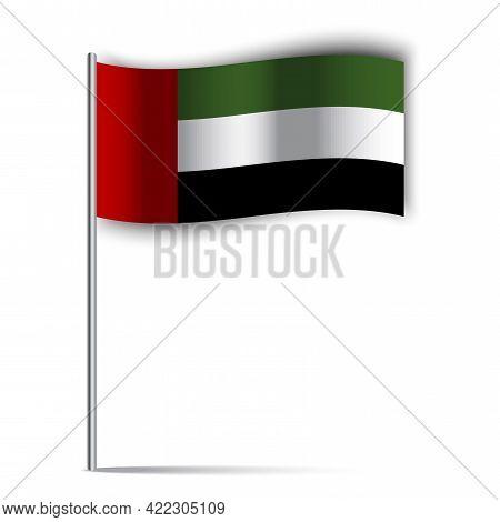 Arabic Illustration With Uae Flag On White Background. Emirates Flag On A Stick. Vector Illustration