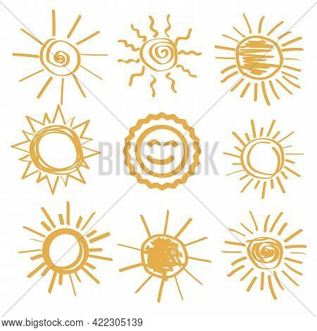 Hand Drawn Painted Sun Set. Travel Vector Icon. Summer Illustration. Sun Icon Set. Vector Illustrati